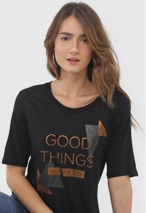 Camiseta Morena Rosa Lettering Preta