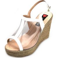 0e60aae048 Kanui. Sandália Anabela Love Shoes Alta Vinil Transparente Branca