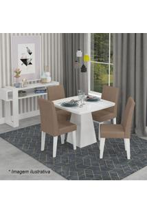 Conjunto De Mesa Helen Com 4 Cadeiras Milena- Branco & Pcimol