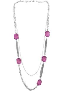 Colar Bijoulux Longo Duplo Com Pedras Pink E Correntes