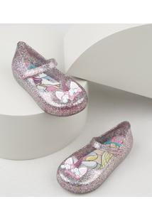 Sapatilha Infantil Grendene Barbie Unicórnio Com Glitter Lilás