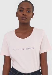 Camiseta Tommy Hilfiger Aplicaã§Ãµes Rosa - Rosa - Feminino - Algodã£O - Dafiti