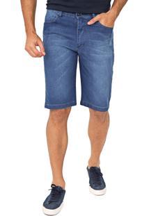 Bermuda Jeans Aleatory Reta Estonada Azul