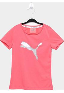 Camiseta Infantil Puma Active Sports Manga Curta Feminina - Feminino-Rosa+Branco