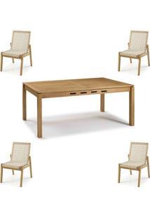 Conjunto Trama Mesa 220Cm + Cadeiras Corda Areia - 60501 - Sun House