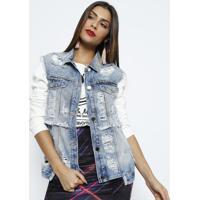 Colete Jeans Com Rebites - Azul Clarodimy 0451f82be43a1