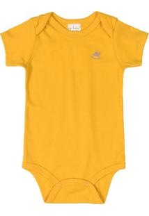 Body Bebê Básico Manga Curta Amarelo