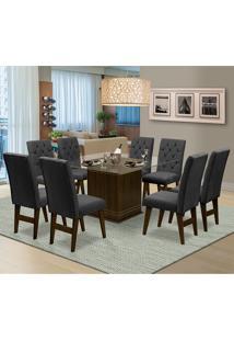 Mesa Para Sala De Jantar Saint Louis Com 8 Cadeiras – Dobuê Movelaria - Castanho / Chumbo