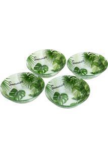 Jogo De Bowls Leaves Para Sobremesa- Branco & Verde-Bon Gourmet