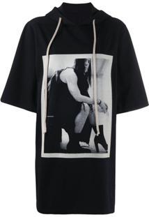 Rick Owens Drkshdw Camiseta Com Estampa Contrastante - Preto