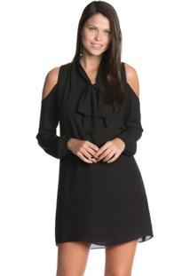 Vestido Amaro Curto Laço Recorte Ombro - Feminino