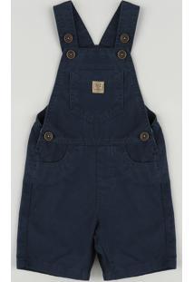 Jardineira De Sarja Infantil Com Bolsos Azul Marinho