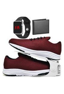 Kit Tênis Esportivo Caminhada Com Organizador, Carteira E Relógio Led Silver Dubuy 1108Db Vermelho