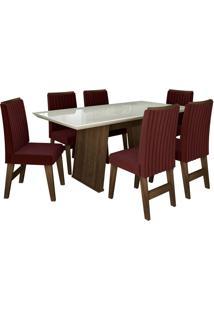 Conjunto De Mesa Para Sala De Jantar Com Tampo De Vidro E 6 Cadeiras Vigo -Dobuê Movelaria - Castanho / Branco Off / Vinho Bord