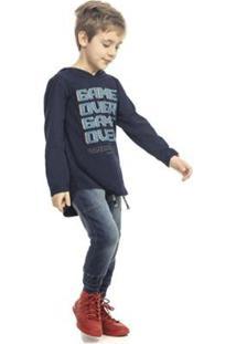 Casaco Infantil Masculino Com Capuz Game Over - Masculino-Azul+Marinho