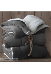 Cobertor Dupla Face Queen Size - Cinza Escuro & Off Whitsultan