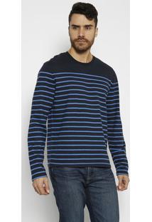Camiseta Listrada - Preta & Azul Clarolevis
