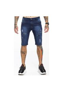Bermuda Rich Young Básica Rasgada Jeans Azul