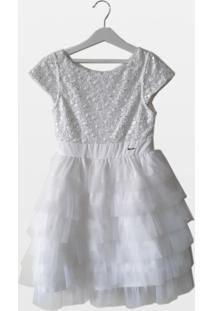 Vestido Cacau Kids Bordado Munbai Branco