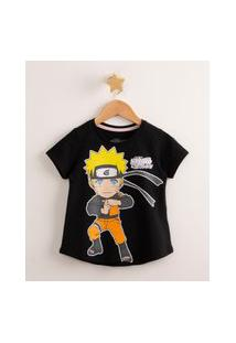 Blusa Infantil Manga Curta Naruto Preta