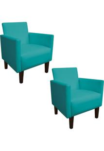 Kit 02 Poltrona Decorativa Compacta Jade Corino Azul Turquesa Com Pés Baixo Chanfrado - D'Rossi.