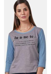 Camiseta Manga Longa Feminina Luan Santana Ser Luanete - Feminino-Cinza