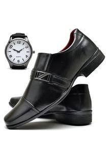 Sapato Social Masculino Com E Sem Verniz Asgard Com Relógio New Db 820Lbm Preto