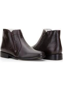 Bota Capelli Boots Em Couro Ziper Lateral Masculina - Masculino-Café