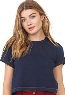 Camiseta Cropped Dimy Pespontos Azul-Marinho