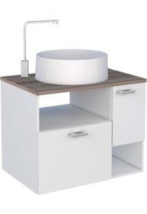 Gabinete Para Banheiro 60Cm Mdf Iara Branco Com Tamarindo Sem Cuba 59,5X47,8X41Cm - Cozimax - Cozimax