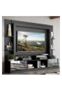 "Rack C/ Painel Tv 65"" Portas C/ Espelho Oslo Multimóveis Preto"