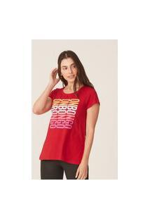 Camiseta Onbongo Feminina Estampada Vermelha