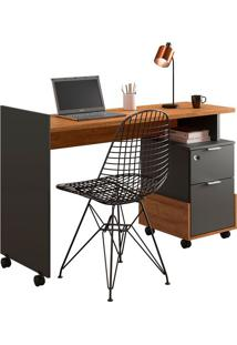 Mesa Para Computador Alessa 1 Amêndoa/Chumbo