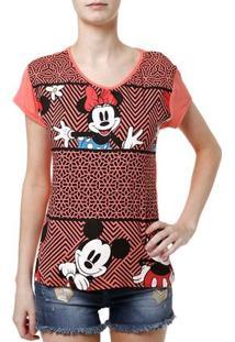 Blusa Manga Curta Feminina Disney Coral