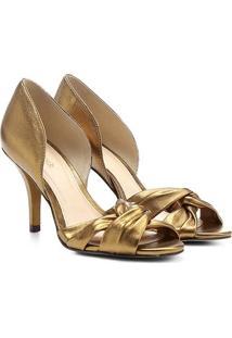 Peep Toe Couro Shoestock Salto Fino Gáspea - Feminino
