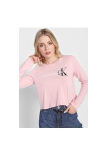 Camiseta Cropped Calvin Klein Jeans Logo Rosa