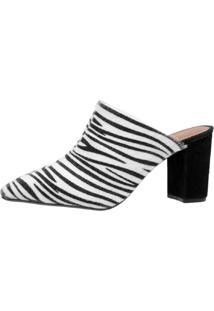 Scarpin Mule Di Scarp Calçados Animal Print Salto Médio (7,5 Cm) - Pelo Zebra - Kanui