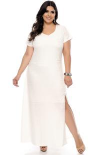 d36919150d Vestido Plus Size Longo Étnico Off-White