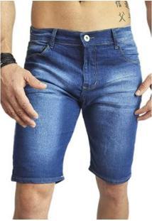 Bermuda Jeans Masculina Manchada Clean Di Nuevo - Masculino