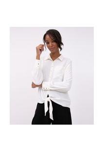 Camisa Em Crepe Com Amarração Na Frente | A-Collection | Off-White | P