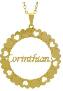 Gargantilha Horus Import Pingente Manuscrito Corinthians Banho Ouro Amarelo