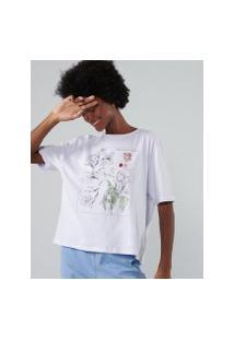 Amaro Feminino T-Shirt Oversized Floral Botânico, Creme