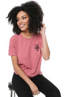 Camiseta Lez A Lez Destroyed Bordado Rosa