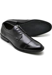 Sapato Social Masculino Em Couro Soft De Amarrar Reta Oposta - Masculino-Preto