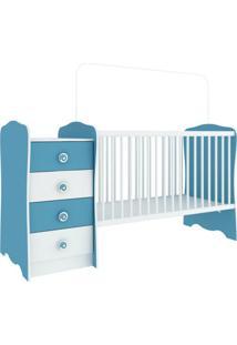Berço Com Criado-Mudo Baby Estrela Branco E Azul