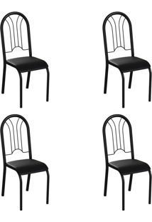 Conjunto Com 4 Cadeiras Hervey Preto
