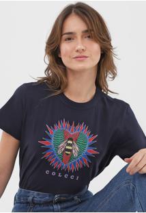 Camiseta Colcci Estampada Azul-Marinho - Azul Marinho - Feminino - Algodã£O - Dafiti