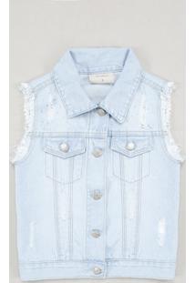 Colete Jeans Infantil Com Rasgos E Strass Azul Claro
