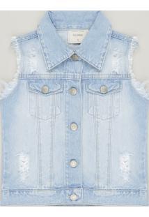 Colete Jeans Infantil Destroyed Azul Claro