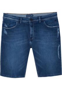 Bermuda Dudalina Jeans Stretch 5 Pockets Masculina (Jeans Escuro, 42)